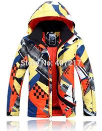 Wholesale Snow Jackets For Men - Wholesale- 2015 mens ski jacket yellow orange snowboarding jacket for men warm snow coat skiwear mountaineering jacket waterproof 10K