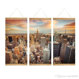 Wholesale Canvas Scrolls - Modern Print Scroll Canvas Painting city 3 Piece Canvas Art Wall Pictures for Living Room Large Wall Art CHS122