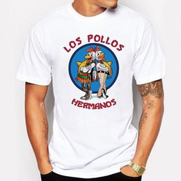 Wholesale Men s Clothing Summer breaking bad t men t shirts fashion shirts LOS POLLOS Hermanos Chicken Brothers White funny hip pop tee shirt homme