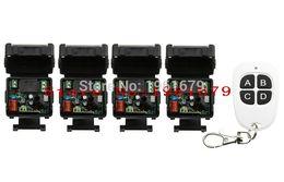 Wholesale Mini Remote Receiver Transmitter - Wholesale- AC 220 V 1 channel RF mini Wireless Remote Control 4 piece Receiver & 1 piece transmitter Black - white 4 keys