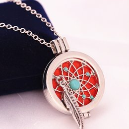 Wholesale Opened Box Pendant - 2017 new fashion personality feather turquoise necklace DIY aromatherapy essential oil can open the phase box pendant X660