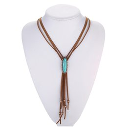 Wholesale Online Wholesale Shop - Wholesale- Leather Tassel Necklace Western Bolo Tie Tribal Necklace Boho Hippie Indian Native American Jewelry Navajo Online Shops India