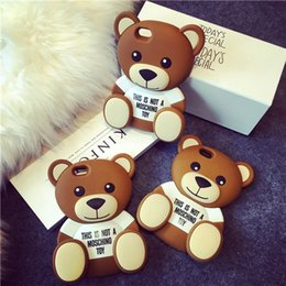 Wholesale Iphone Cute Cover - 3D Cute Cartoon Brown Bear Soft TPU Silicone Rubber Case for iPhone 6 6s 7  6 Plus 7Plus  5s 5 SE Cell Phone Bags Cover