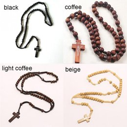 Wholesale Wholesale Rope Cross - Retro Style Men Women Catholic Christ Wooden Rosary Bead Cross Pendant Woven Rope Necklace