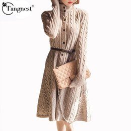 Wholesale Knit Cable Sweater - Wholesale- TANGNEST Long Sweater Dress 2016 Fall Winter Fashion Cable Vintage Single-breasted Knee-length Belt Knitted Maxi Dress WQL2828