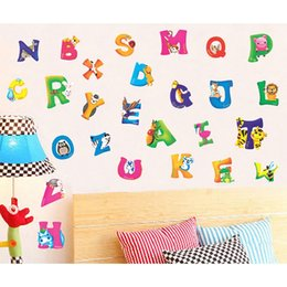 Wholesale wall stickers baby - A-Z Alphabet Animals Removable Wall Sticker Kid Nursery Baby Room Decal Decor