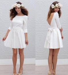 Wholesale Bride Bridal Party Dresses - White Short Informal Wedding Dress With 3 4 Sleeve Simple Cheap Mini Reception Bridal Gowns Sexy 2017 Open Back Bride Wedding Party Dresses