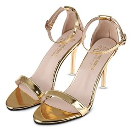 Wholesale Women Shiny Flat Shoes - Sexy Solid Color Shiny Ladies Thin High Heel Sandals Flat Ankle Strap Sandals Open Toe Low Heels Women Beach Sandals Flip Flops Shoes+B
