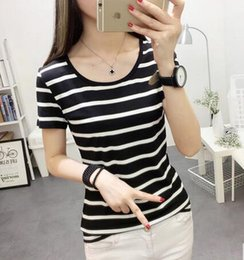 Wholesale Dress Horizontal Stripes - The new 2017 summer wear black and white horizontal stripes on the short sleeve T-shirt dress clothes, cultivate one's morality show thin ha