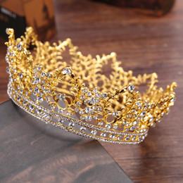 Joyería nupcial Barroco Tiara Crown Mujeres Vintage Diadema Rhinestone Crystal Crown Crystal Rhinestone Tiara Prom Party Joyería del pelo HJ119 desde fabricantes