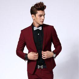 Wholesale Design Mens Bow Ties - Wholesale- New Design Dark Red Mens Suits Groom Tuxedos Groomsmen Wedding Party Dinner Best Man Suits Blazer(Jacket+Pants+Bow Tie) NO:1540