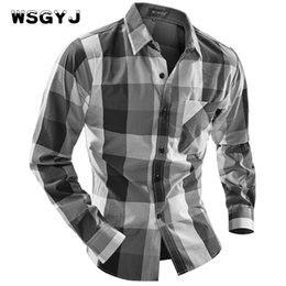 Wholesale Male Shirt Fashion Models - Wholesale- WSGYJ Brand 2017 Fashion Male Shirt Long-Sleeves Tops Fight Color Big Grid Classic Models Mens Dress Shirts Slim Men Shirt