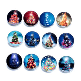 Wholesale Metal Jewelry Tree - 18MM Metal snap button cabochon glass christmas Tree Cat Fruit Santa Claus ginger snaps Charm Fit Fashion bracelet necklace Jewelry in bulk
