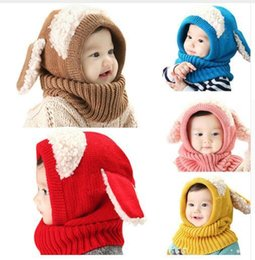 Wholesale Infant Earflap Hat - Warm Hats Baby Rabbit Ears Knitted Infant Winter Beanies Cap with Hooded Scarf Earflap Newborn Kids Christmas Gifts 5 Colors Free Shipping