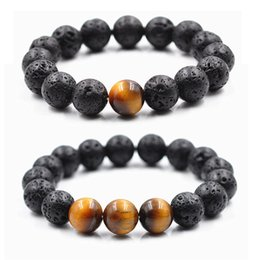 Wholesale 12mm Lava - 12MM Natural Lava-rock Stone Bracelet With One Three Tiger Eye Beads Bracelets Aromatherapy Essential Oil Diffuser Women Men Fashion Jewelr