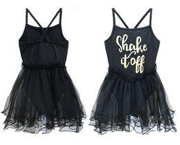 Wholesale Girls Black Ballet Tutu - INS Girls Baby Black Party Ballet Tutu Dresses Girls Gymnastics Leotard Bodysuit Sleeveless Ruffled Tulle Letter Dance Tutu Dress 2-11Y