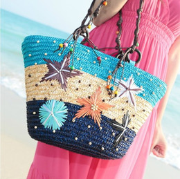 Wholesale Green Scene - Starfish hitting scene straw bag The necessary Hawaii playmates toys straw bag Beach bagsshoulder bags for women