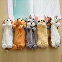 Wholesale cute animal pencil cases - Wholesale- Super Kawaii Cute Soft Plush Dog Make Up Bag Pencil Case Cartoon Pen Bag Makeup Brush Bag 5 Patterns to Choose