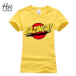Wholesale Womens Bangs - Wholesale- HanHent Female The Big Bang Theory Bazinga T shirts Cotton Funny Tshirt Women Ladies Tops Summer Casual Basic T-shirt womens