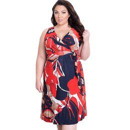 83bc53c1490 Floral Print Dress Summer Woman Dress Fat Mm Plus Size Women Clothing  4XL-6xl Big Size V-neck Evening Party Dress