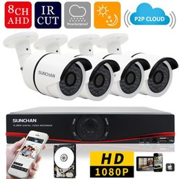 Wholesale Home Camera System 1tb - 8 Channel AHDH Security Camera System 8CH DVR 4PCS 1080P CCTV Camera Home Surveillance System Cameras 1TB HDD