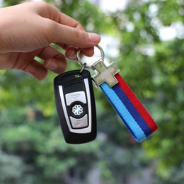 Wholesale Bmw Leather Key - 1PCS M Tech M Sport Leather Belt Chrome Keyring Keychain for BMW E46 E39 E60 F30 E90 F10 F30 E36 X5 E53 E30 E34 X1 X3 M3 M5 Key Chain
