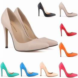 Wholesale Corset Dress Slip - 9 Colors Women Sexy Pointed Toes Patent High Heel Shoes Slip-On Corset Style Work Pumps Shoes Court Shoes US Size 4-11 D0052