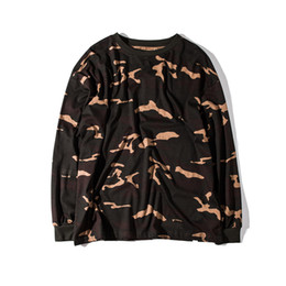 Wholesale Military Shirts Women - Camouflage T-Shirt Men Kanye West YEEZSS Military Oversized Loose Hip Hop T Shirt Women Long Sleeve O Neck T-Shirts 2017