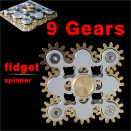 Wholesale Toy Gear Wheels - 2017 EDC handspinner Gadget 9 GEAR Hand spinner fidget toy Steampunk fidget machine with 9 wheels Top Finger Gyro Decompression Anxiety Toy