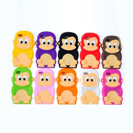 Wholesale Monkey Phone Covers - Monkey shaped cell phone accessories for iphone4 and iphone5 with Cute Cartoon Silicone back cover fit for iphone