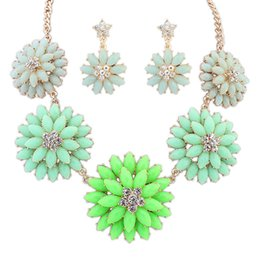 Wholesale Candy Colored Necklace - Fine Jewelry sets Europe and the United States Ruili hot models candy colored sweet flower earrings necklace set wholesale jewelry factory