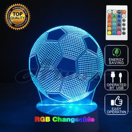 Wholesale Headset Decorations - Creative Gift Remote Controlled USB 3D NIGHT LAMP Acrylic Globe Spiral Football Headset Lamp Bulbing Light For Party