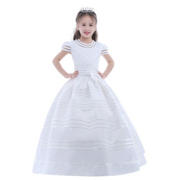 Wholesale Flower Pictures Color - New Arrival Flower Girl Dress 2017 First Communion Dresses For Girls Short Sleeve Belt With Flowers Customized
