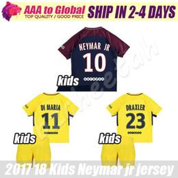 Wholesale Boys Sets Yellow - kids Neymar soccer jersey 2018 children Di Maria football sets Verratti David Luiz t Silva Matuidi 17 18 boy Neymar jr football kits