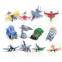 Wholesale Planes Pixar Dusty - 12pcs Set Pixar Planes Dusty Crophopper Ishani Skipper Leadbottom Dottie Chug Ripslinger Bulldog Aircraft PVC Figures Cartoon Movie Model