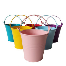 Wholesale Tin Pail Favor Box - D7.5*H7.5CM tin box Mini pail Wedding bucket metal small chocolate buckets decorative Other Festive & Party Supplies