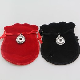 Wholesale Velvet Jewelry Pouch Gourd - flannel 12mm metal metal Snap Buttons Jewelry Gourd-type Gift Bags 7*9cm Small Bags Velvet Flock Drawstring Pouches