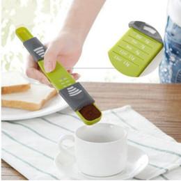 Wholesale Plastic Spoons For Coffee - New Creative Ajustbale Kitchen Measuring Spoons Plastic Gram Measuring Spoons Cups Measuring Tools For Baking Coffee milk powder Utensil Kit