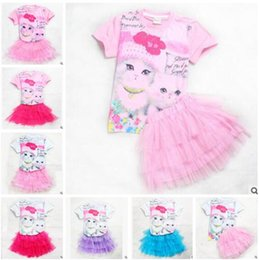 Wholesale Multilayer Dress - 2017 Summer Baby Girls Outfits Sets Cartoon Animal Cat TuTu Dress Short Sleeve Tops Multilayer Tulle TuTu Skirts Girls Clothing Sets 548
