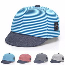 Wholesale Children Floppy Sun Hats - Wholesale- Casual Cotton Striped Sun Caps For Child Baby Snapback Girl Boy Floppy Soft Brim Infant Hats Baseball Cap Sun Hat 2017 New