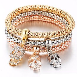Wholesale Sell Snake Rings - 2017 New Arrival Hot Selling Fashion Classic Style Bracelet Three-colour Chain Alloy Crysta Skull Crystal Punk Style Bracelet Free Shipping