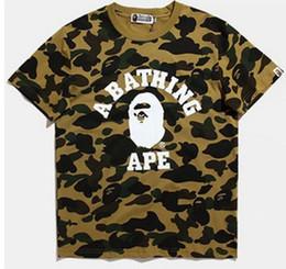 Wholesale Men Tshirt Collar Short Sleeve - PALACE T Shirts men short sleeve Hoodies brand shark print tshirt homme camouflage T-Shirt bap shark clothing free shipping