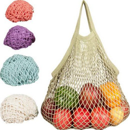 Wholesale wholesale mesh bag - Multifuction Fruits Vegetable Foldable Shopping Bag String Cotton Mesh Pouch For Sundries Juice Storage Bags CCA6351 100pcs