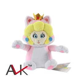 Wholesale Mario World - Wholesale- 18CM New Super Mario 3D World Pink Peach Princess Cat Shape stuffed Plush Doll Toys With Tag kids gift Free Shipping