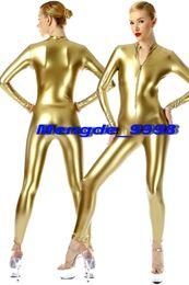 zentai unisex oro catsuit Sconti New Gold Shiny Metallic Tuta Catsuit Costumi Sexy Front Zipper Body Suit Unisex Costumi Cosplay Outfit Halloween Cosplay Suit M090