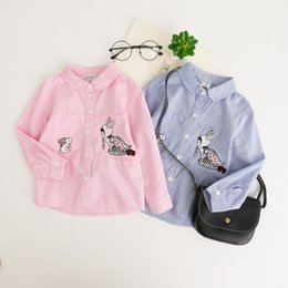 Wholesale Rabbit Tee Shirt - New Big Girl's Tee Tops Long Sleeve Girls T-shirts Children Clothing Long Sleeve Cotton Rabbit Fairy Girl Embroidered Casual Blue Pink A7039