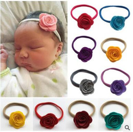 Wholesale Elastic Headbands Weave - The new non-woven roses Baby baby hair hoop non-trace nylon elastic children's hair band