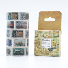 Wholesale Mixed Washi - Wholesale- 2016 Mixed Color Japanese Washi Tape Vintage World Stamps Patterns Decorative Adhesive Tape Set 1PCS Lot Masking Paper Tapes