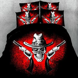 Wholesale King Size Bedding Collections - 3D Skull Bedding Duvet Cover Set Cool Skulls Collection HD Printed Reactive Halloween Bedding Sets Twin Queen King Size Hot Sale