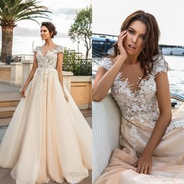 Wholesale Embroidered Short White Dress - Cap Sleeves 3D Flora Lace Appliques Wedding Dresses Heavily Embroidered 2017 V Neckline Romantic Princess Ivory Beach Wedding Bridal Gowns